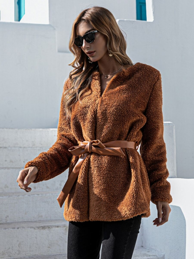 Дамско палто Solid Belted Teddy Coat