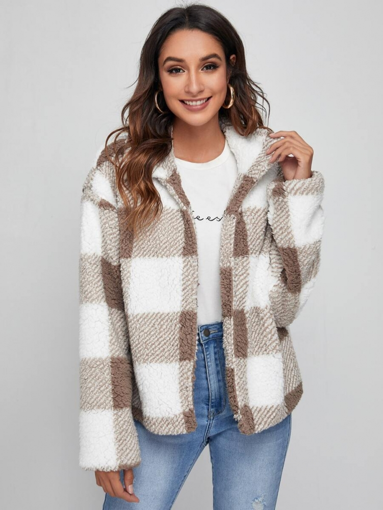 Дамско палто Zipper Up Buffalo Plaid Teddy Jacket
