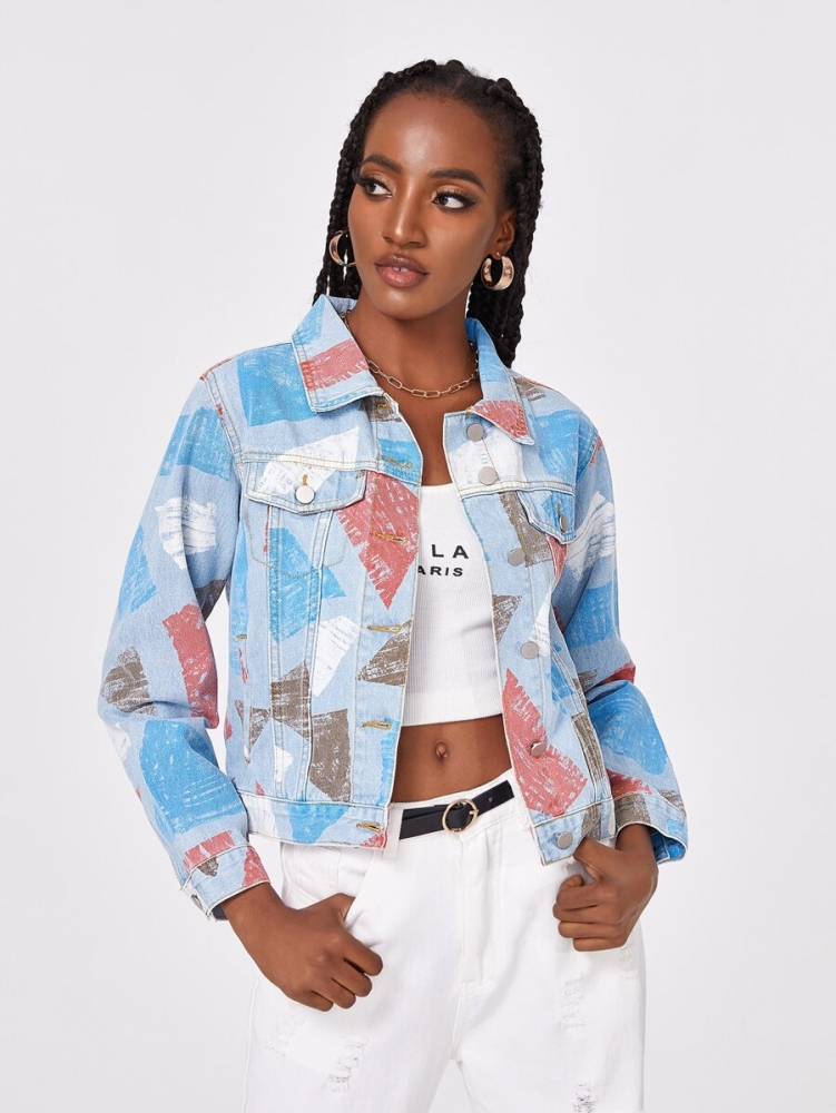 Дамско яке Button Front Geometric Denim Jacket