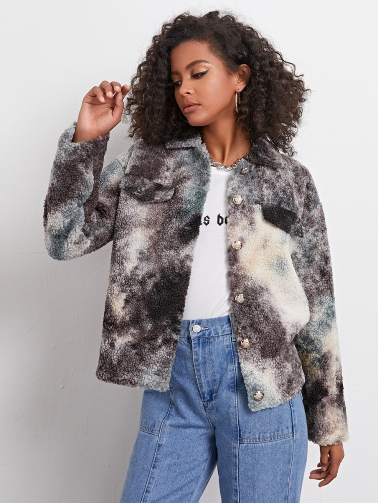 Дамско яке Drop Shoulder Button Front Tie Dye Teddy Jacket