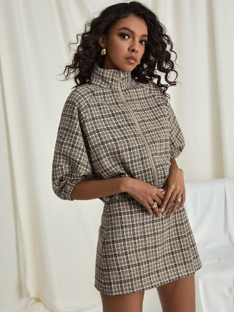 Дамско яке Raglan Sleeve Plaid Tweed Jacket
