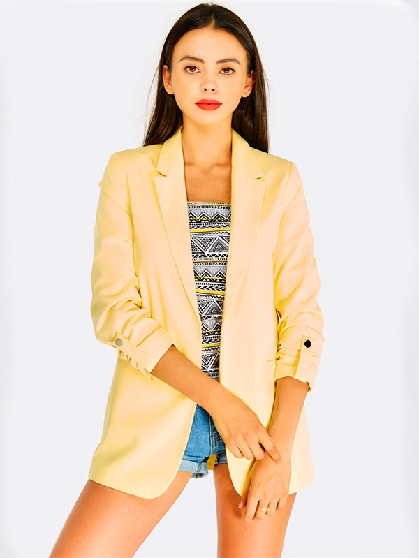Дамско сако Yellow Blazer With Side Pockets