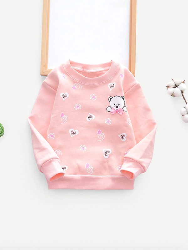 Детска блуза Bear & Heart Print Bow Detail Sweatshirt
