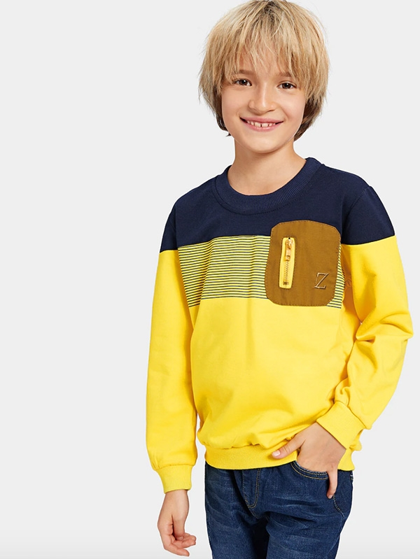 Детска блуза Boys Zip Decoration Cut And Sew Panel Sweatshirt