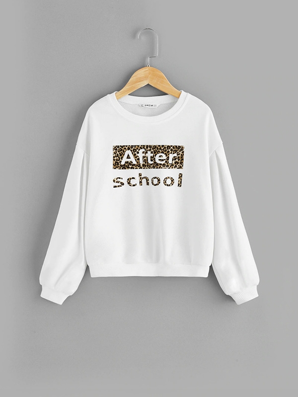 Детска блуза Girls Drop Shoulder Letter And Leopard Sweatshirt