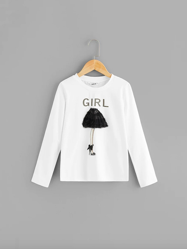Детска блузка Girls Mesh Applique Letter Tee