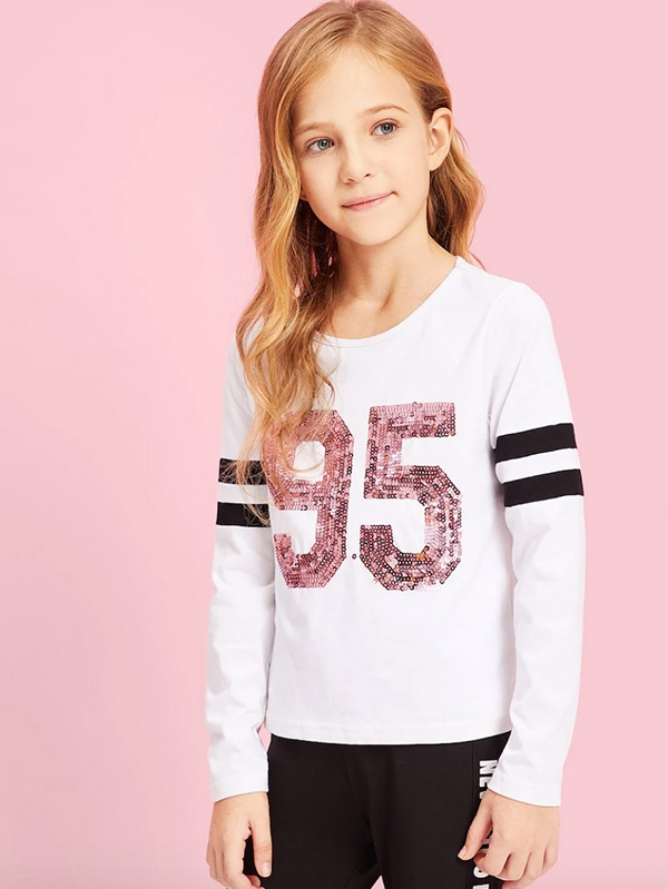 Детска блузка Girls Sequin Number Striped Sleeve Tee