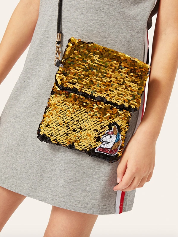Детска чанта Girls Unicorn Detail Sequin Crossbody Bag