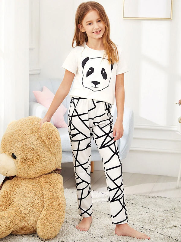 Детска пижама Girls Panda Print Tee & Geo Pants PJ Set