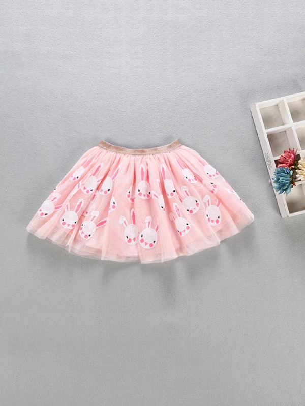 Детска пола Girls Rabbit Print Mesh Skirt