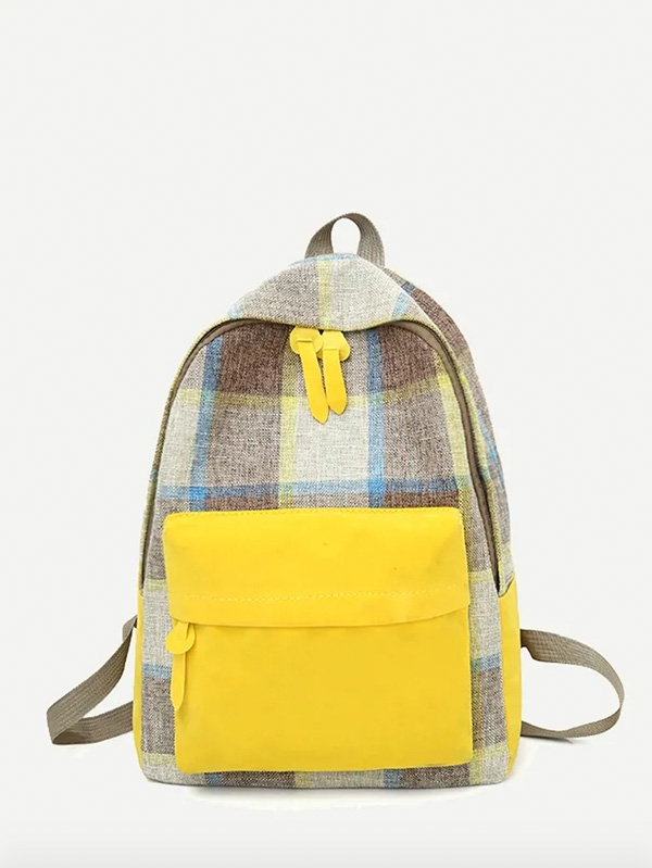 Детска раница Kids Pocket Front Plaid Backpack