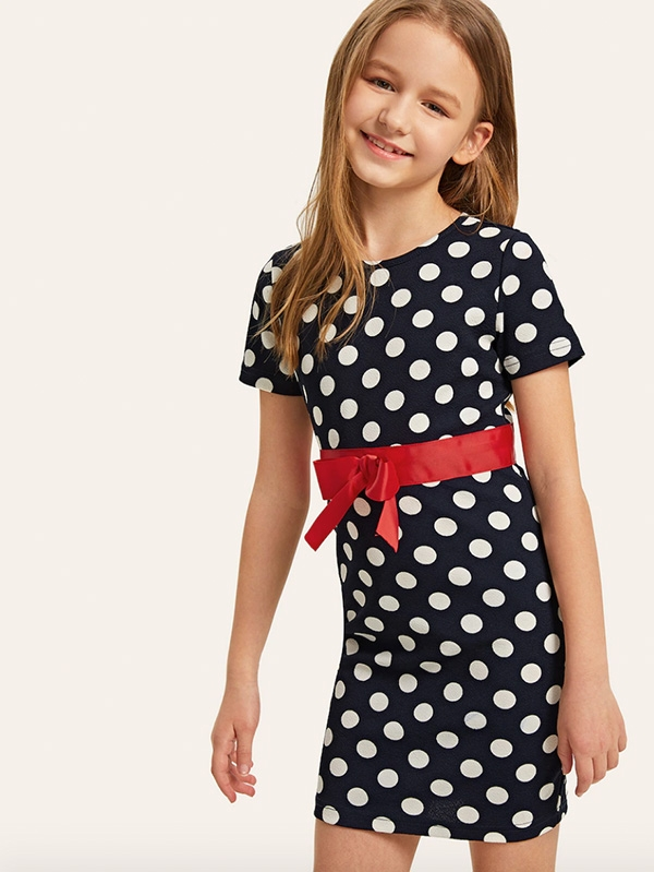 Детска рокля Girls Bow Belt Detail Polka Dot Dress