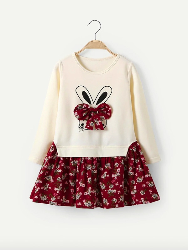Детска рокля Girls Contrast Hem Floral & Rabbit Print Dress
