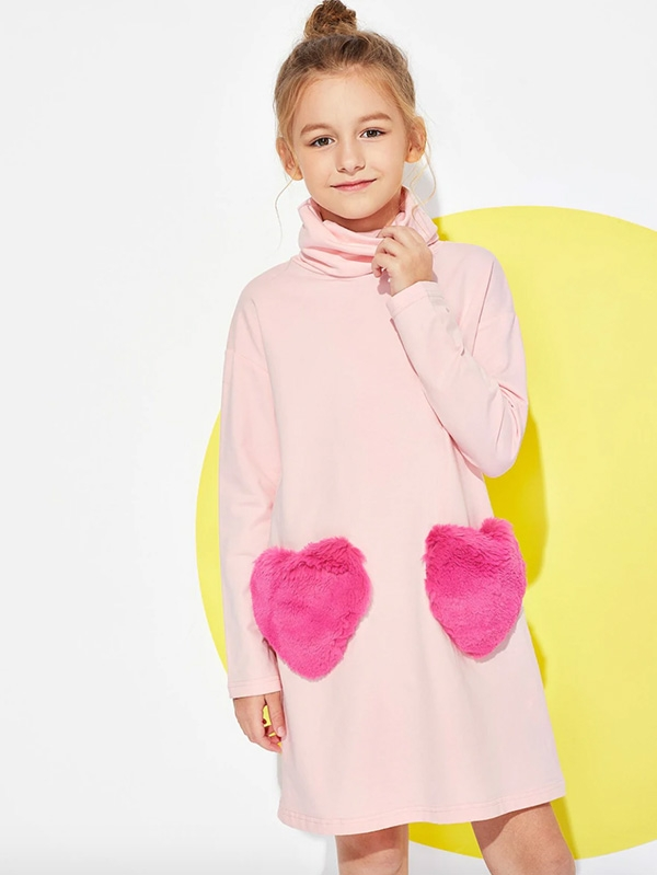 Детска рокля Girls High Neck Fleece Love Dress