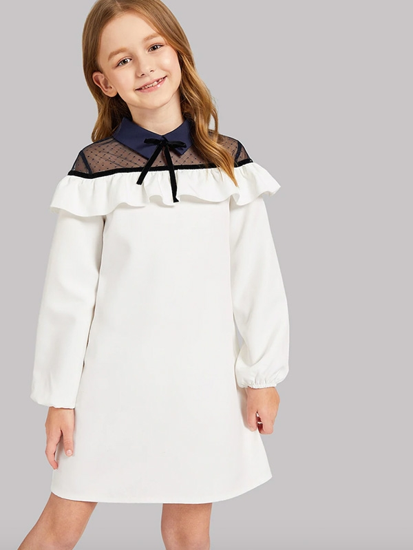Детска рокля Girls Mesh Insert Shoulder Ruffle Dress