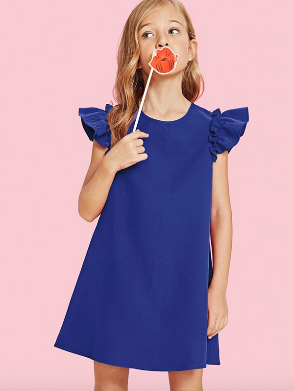 Детска рокля Girls Ruffle Armhole Trapeze Dress