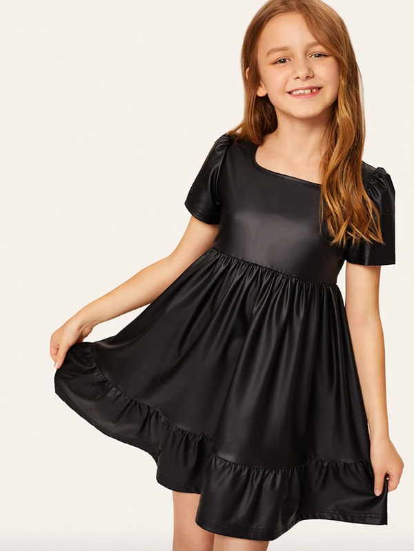 Детска рокля Girls Zip Back Ruffle Hem PU Dress