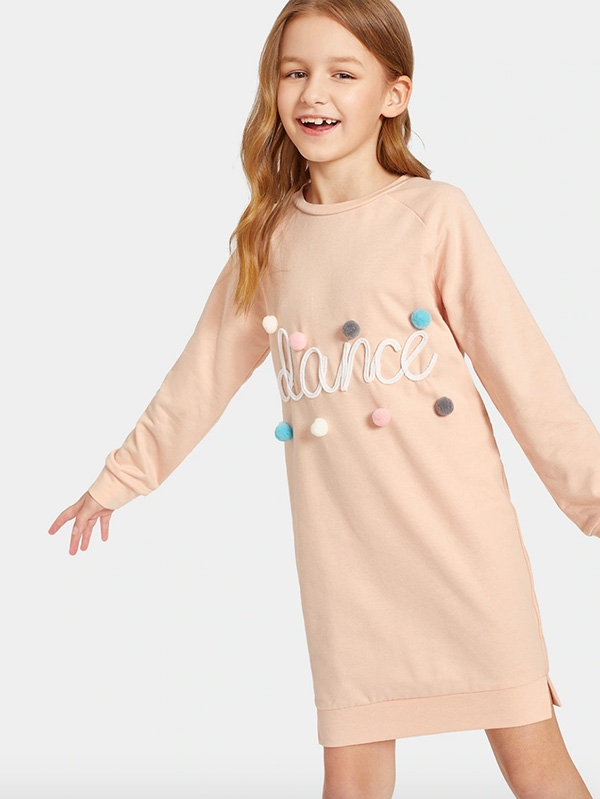 Детска рокля Raglan Sleeve Pompom Detail Letter Sweatshirt Dress