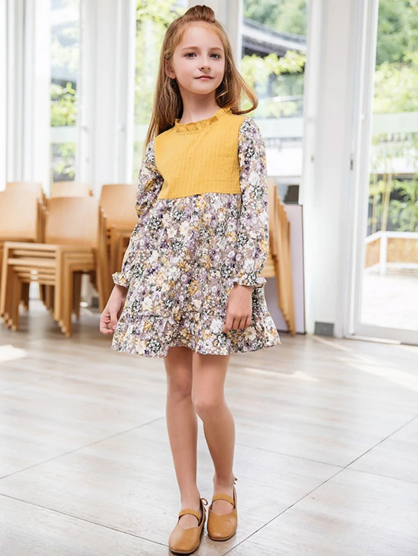 Детска рокля Toddler Girls Calico Print Ruffle Hem Dress