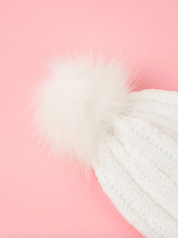 Детска шапка Girls Faux Fur Pom Pom Decorated Knit Beanie Hat