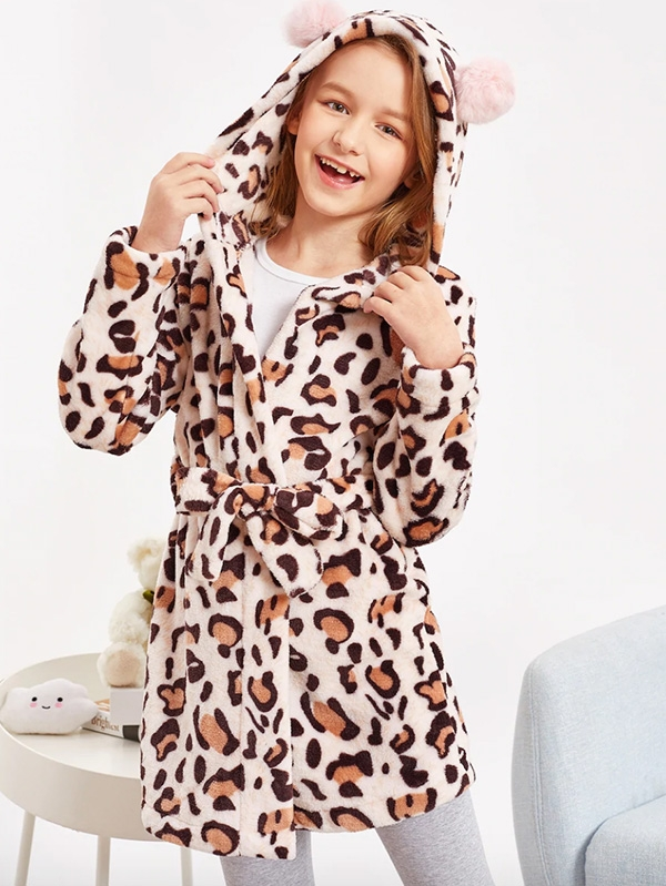 Детски халат Girls Belted Leopard Teddy Sleep Robe