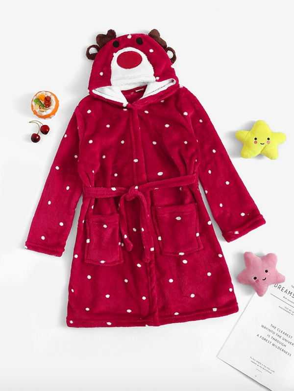 Детски коледен халат Girls Christmas Deer Pattern Plush Hooded Robe