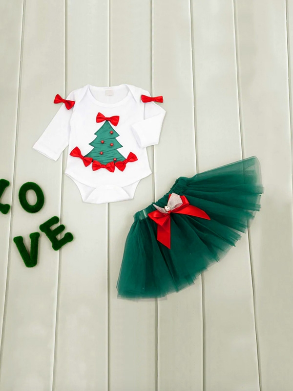 Детски коледен комплект Baby Christmas Print Bow Detail Top With Skirt