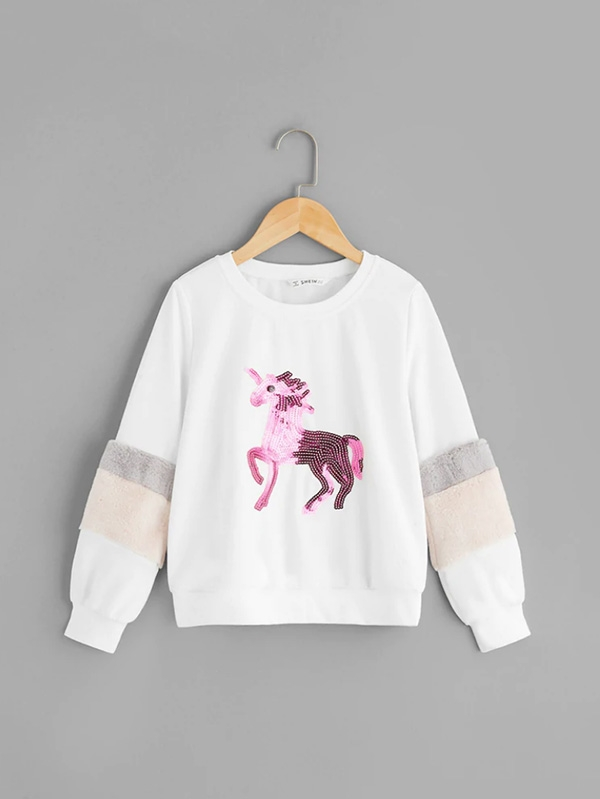 Детски пуловер Girls Contrast Faux Fur Sequin Animal Detail Pullover
