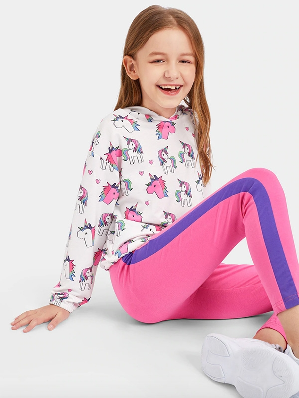 Детски сет Girls Drawstring Hem Unicorn Print Hoodie & Pants Set