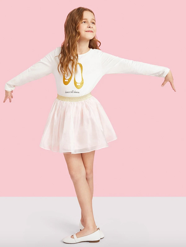 Детски сет Girls Glitter Shoes Front Top & Mesh Skirt Set