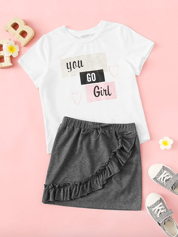 Детски сет Girls Slogan Print Top & Knot Waist Ruffle Skirt Set