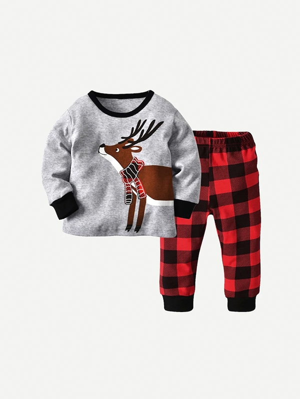 Детски сет Toddler Boys Cartoon Print Tee With Plaid Pants