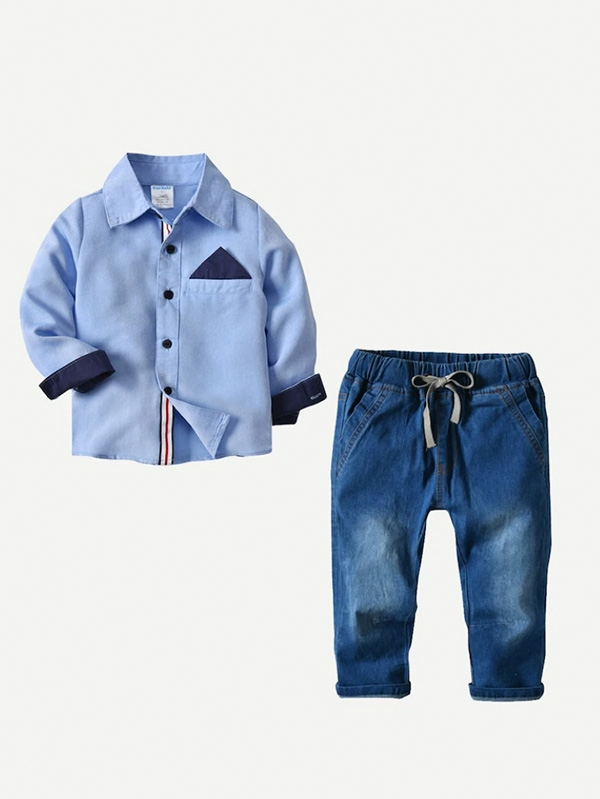 Детски сет Toddler Boys Contrast Panel Shirt With Jeans