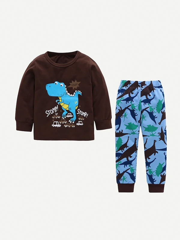 Детски сет Toddler Boys Dinosaur and Letter Print Top With Pants