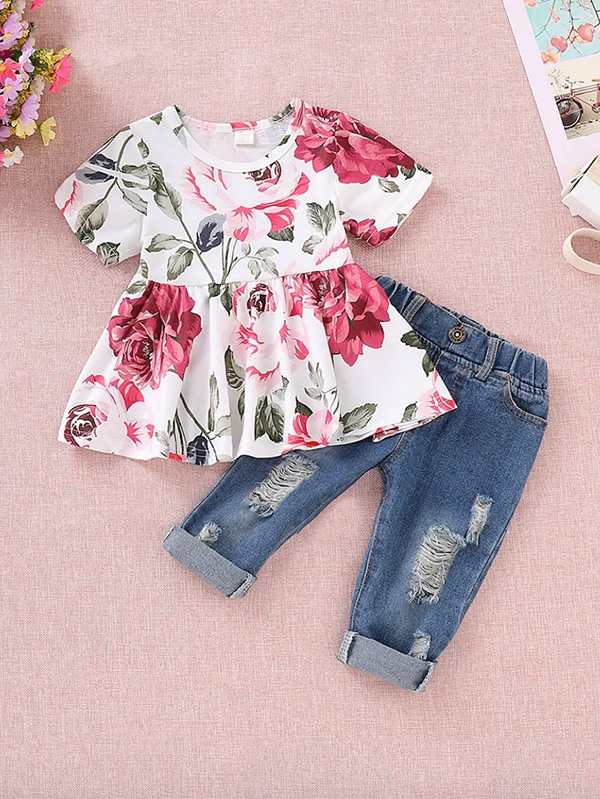 Детски сет Toddler Girls Floral Print Blouse With Ripped Jeans