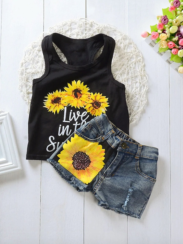 Детски сет Toddler Girls Letter And Sun Flower Print Vest With Denim Shorts