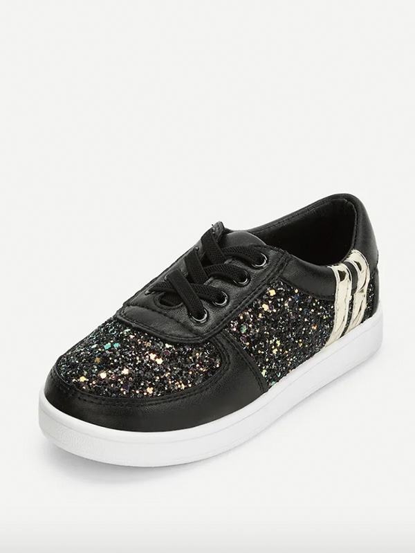 Детски сникърси Toddler Girls Sequin Decorated Lace-Up Sneakers