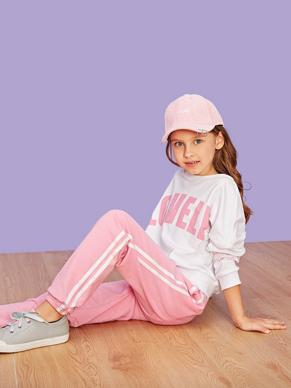 Детски спортен сет Girls Letter Print Pullover & Pants Set