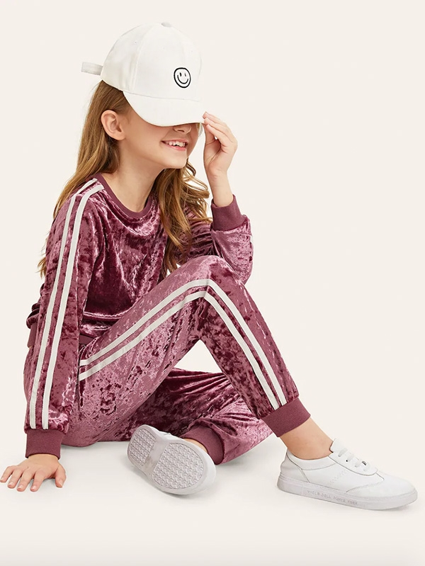 Детски спортен сет Girls Velvet Side Stripe Top & Slant Pocket Pants Set