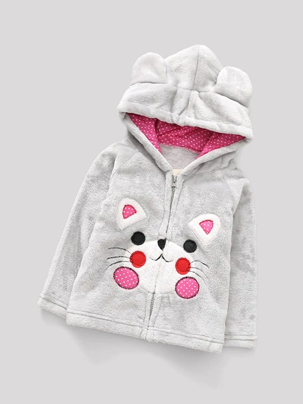 Детски суитчър Girls Cartoon Embroidered Hooded Jacket