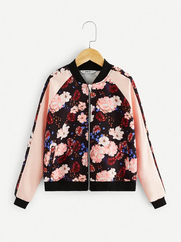 Детско цветно яке Girls Zip Up Floral Print Raglan Sleeve Bomber Jacket