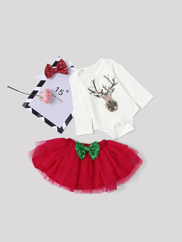 Детско комплектче Girls Elk Jumpsuit & Mesh Skirt & Headband