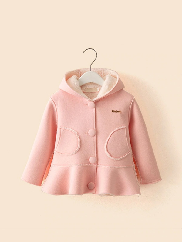 Детско палтенце Toddler Girls Ruffle Hem Shearling Lined Hooded Coat
