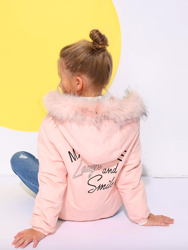 Детско яке Girls Padded Coat With Faux Fur Trim Hood