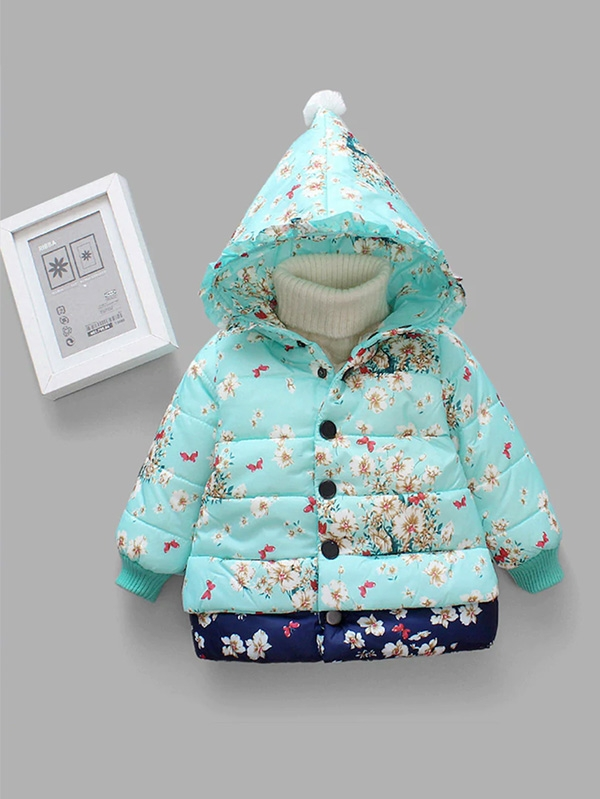 Детско яке Toddler Girls Floral Print Hooded Padded Coat