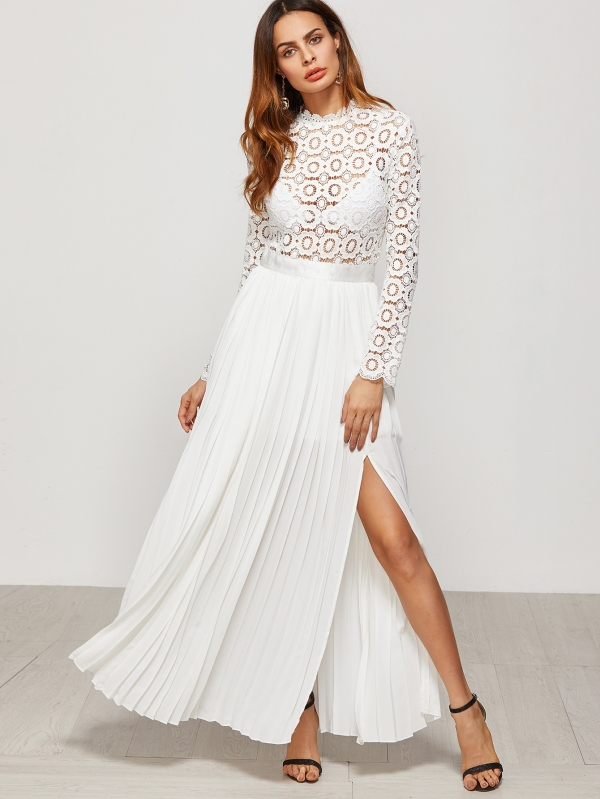 Дълга бяла рокля White Eyelet Embroidered Lace Top Split Pleated Dress