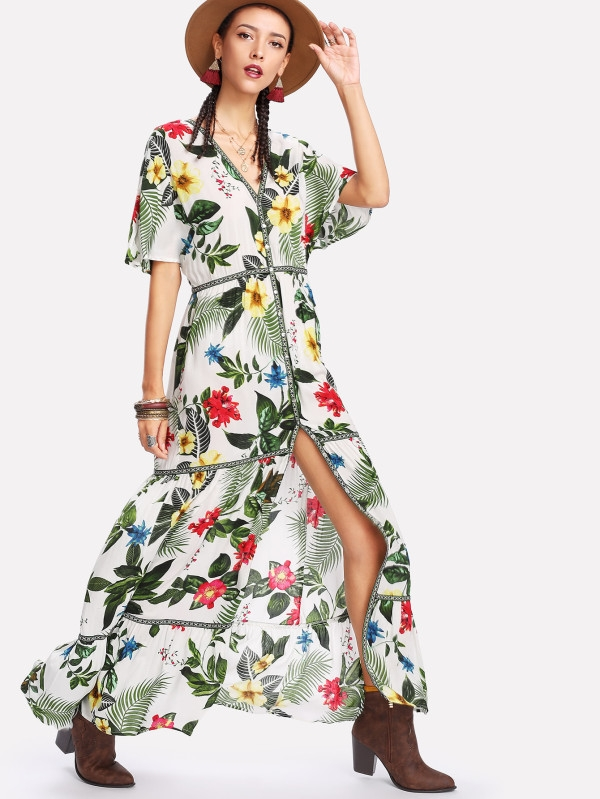 Дълга цветна рокля Embroidered Tape Detail Button Up Tropical Dress