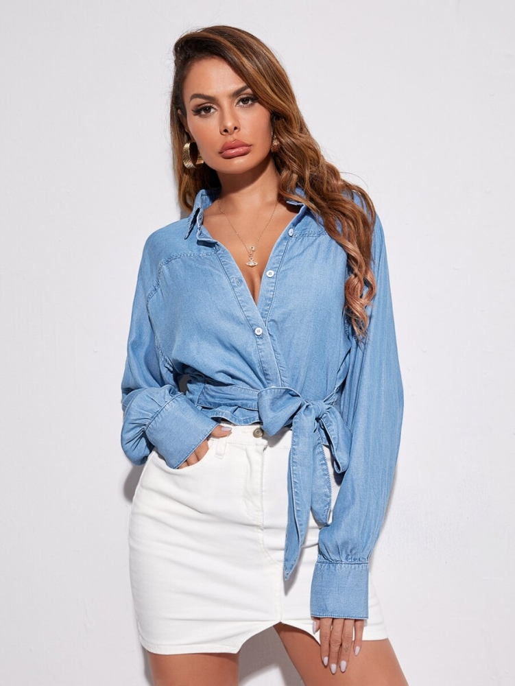 Дънков топ Raglan Sleeve Button Front Tie Hem Denim Blouse