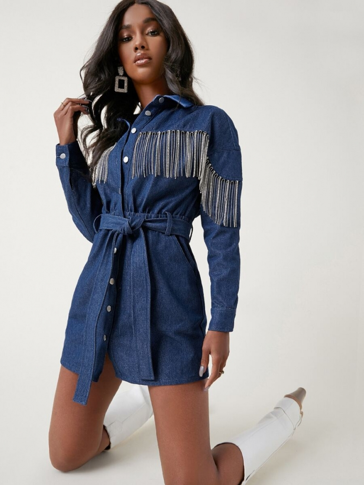 Дънкова рокля Collared Rhinestone Fringe Front Self Belted Denim Dress