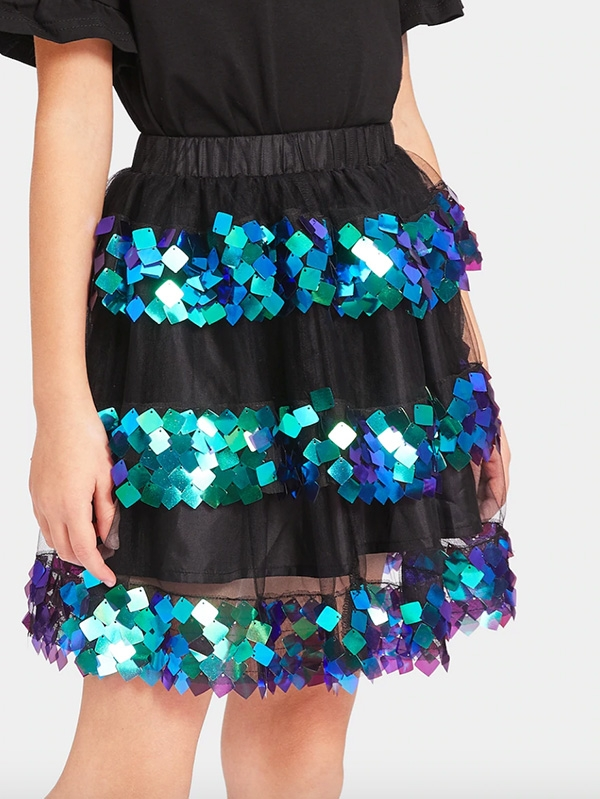 Ефектна детска поличка Girls Contrast Sequin Mesh Overlay Flare Skirt